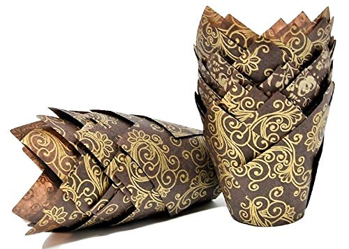 GOLD SWIRL with Brown base, Tulip Muffin Wraps/ Cases - Choose your amount