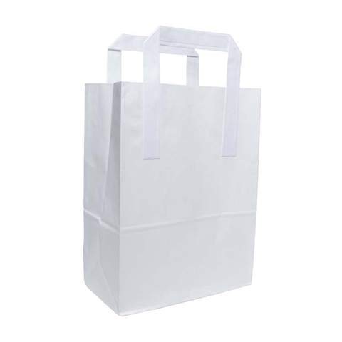 Medium White Paper SOS Shopping Bags With Handles